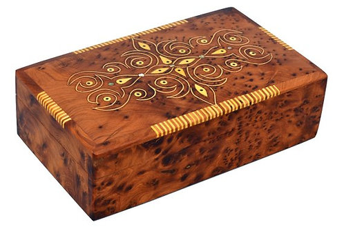 Thuya Wooden Storage Box Case for Jewellery Treasure Chest Handcrafted