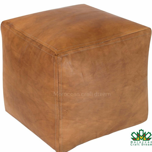 SET OF 2 SQUARE LUXURY LEATHER POUFS LIGHT CARAMEL SP1CR