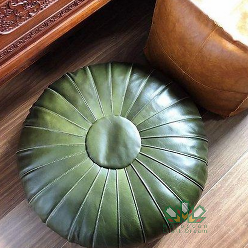 CLASSY LEATHER OTTOMAN GREEN CP1GN