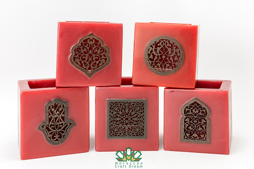 Moroccan Candle Holder Red