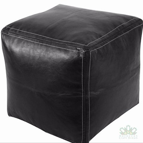 SMALL LUXURY LEATHER SQUARE OTTOMAN BLACK SP1BL
