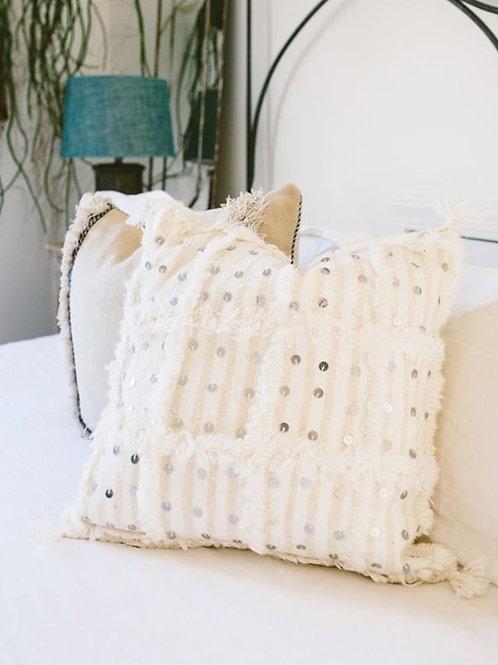 Moroccan Wedding Blanket Pillow Handira White 2