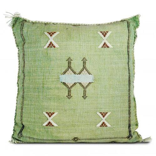 Green Moroccan Cactus Silk Sabra Pillow