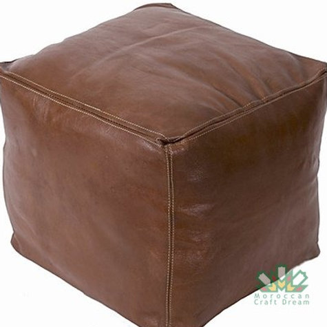 LUXURY LEATHER SQUARE OTTOMAN CHOCOLATE SP3BR  (WITH STITCHING)