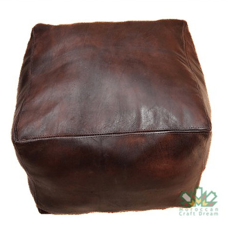 LUXURY LEATHER SQUARE OTTOMAN CHOCOLATE SP1CH  (WITHOUT STITCHING)
