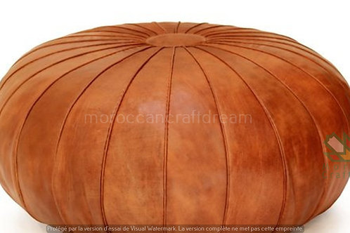EXTRA LARGE CLASSY LEATHER OTTOMAN CARAMEL CP1CR