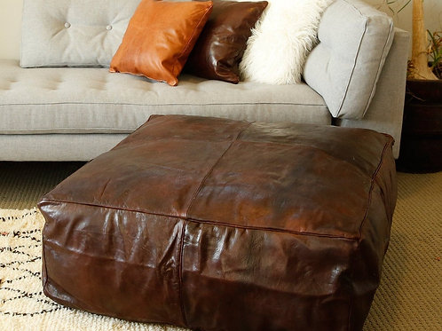 CHOCOLATE LARGE SQUARE/RECTANGULAR LUXURY LEATHER OTTOMAN LSP1CH