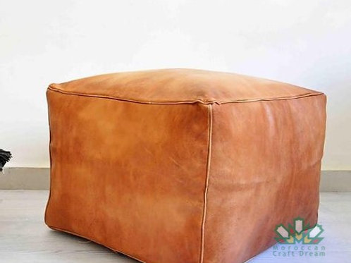 LUXURY LEATHER SQUARE OTTOMAN CARAMEL SP1CR (Without Stitching)