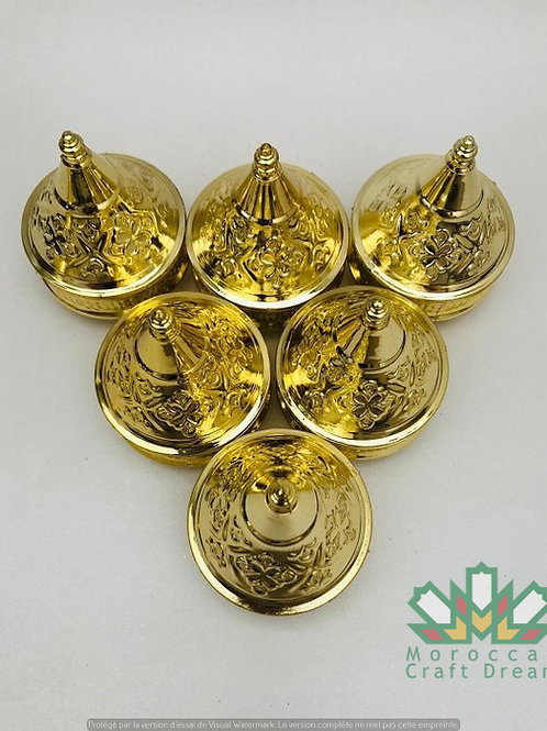 Set of small Gold moroccan tagines decor