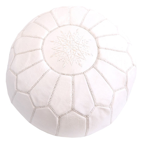 EXTRA LARGE WHITE ROUND LUXURY LEATHER POUF LRP1WH