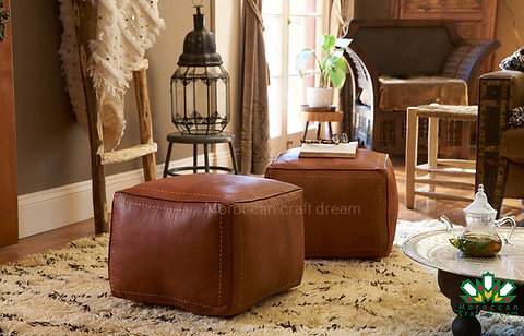 Miraculous Set Of 2 Square Poufs Ottoman Brown Sp3Br Andrewgaddart Wooden Chair Designs For Living Room Andrewgaddartcom