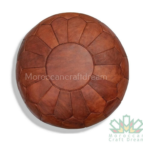 LUXURY LEATHER OTTOMAN TAN WITHOUT STAR STITCHING RP5BR