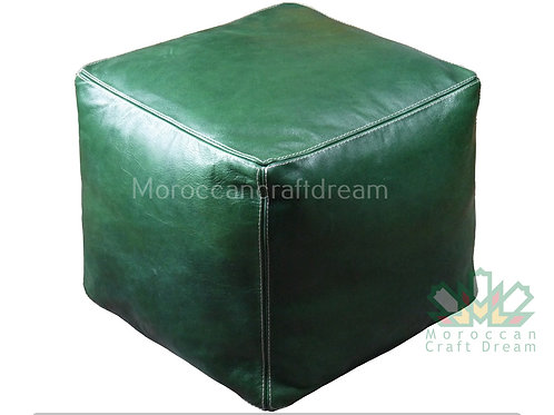 LUXURY LEATHER SQUARE OTTOMAN GREEN GN1NU