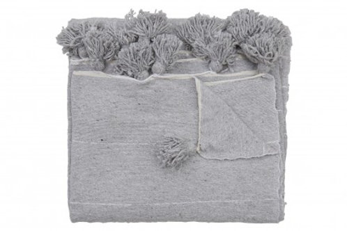 Moroccan Blanket throw Pom Pom, GREY MB2GR