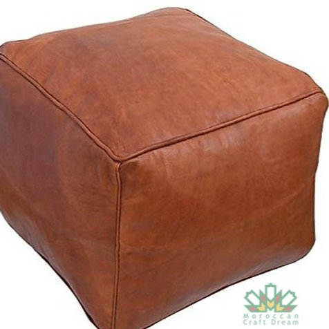 LUXURY LEATHER SQUARE OTTOMAN LIGHT TAN SP3TA (Without Stitching)