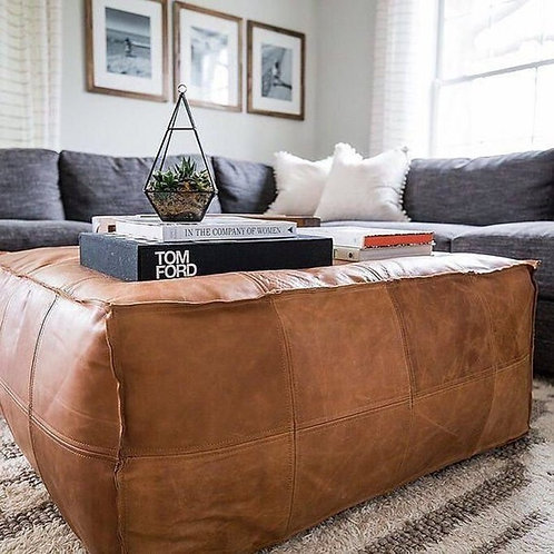 LIGHT CARAMEL LARGE SQUARE & RECTANGULAR LUXURY LEATHER OTTOMAN LSP1LCR