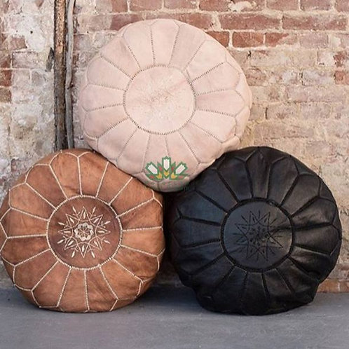SET OF 3 LUXURY LEATHER ROUND POUFS MULTICOLORS
