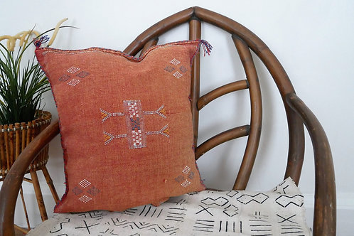Brown Moroccan Cactus Silk Sabra Pillow