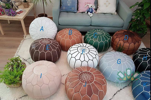 SET OF 6 LUXURY LEATHER ROUND POUFS: MAZI (Minimal Thickness of Leather)
