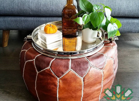 How is Moroccan Leather Ottoman handmade