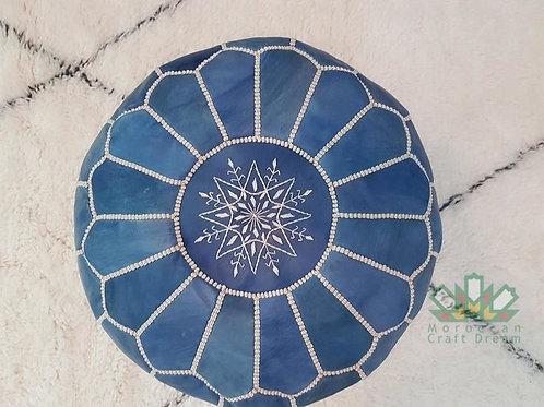 LUXURY LEATHER OTTOMAN BLUE JEAN RP1BJ