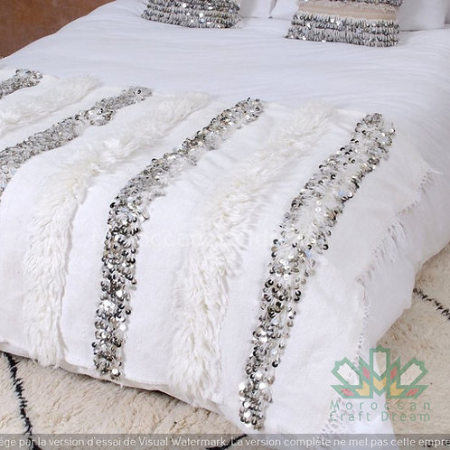 Handmade Moroccan Wedding Blanket Handira White with Metal Sequins HB1WH