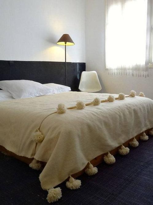 Moroccan Blanket throw Pom Pom, CREAM MB1CR