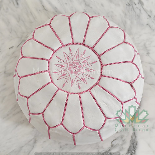 LUXURY LEATHER OTTOMAN WHITE PINK RP6WH