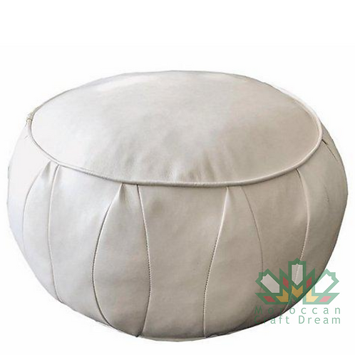 CLASSY LEATHER OTTOMAN WHITE CP3WH