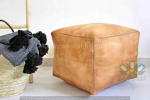 LUXURY LEATHER SQUARE OTTOMAN LIGHT CARAMEL SP3LC (WITH STITCHING)