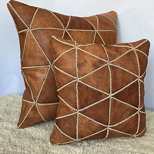 SET OF 2 Leather Square Luxury Embroidered Pillows Multicolors