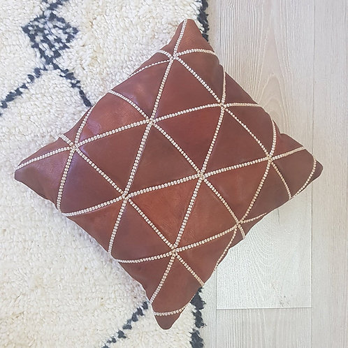Leather Square Luxury Embroidered Pillow Brown EP1BR