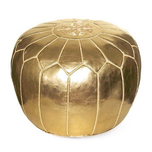 EXTRA LARGE GOLD ROUND LUXURY LEATHER POUF LRP1GL