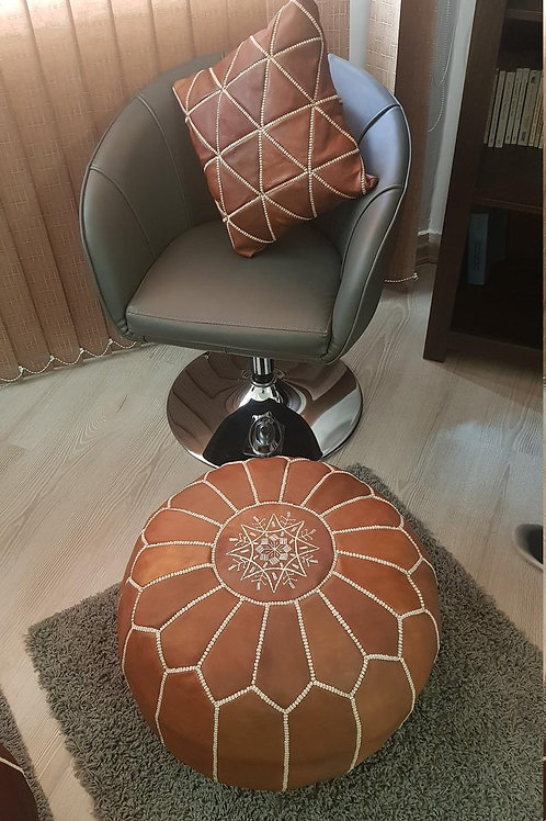 COLLECTION OF 1 LUXURY LEATHER POUF + 2 LEATHER SQUARE PILLOWS (CARAMEL)