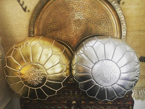SET OF 2 LUXURY LEATHER POUFS GOLD SILVER RP1GL RP1SL