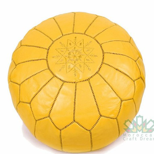 LUXURY LEATHER OTTOMAN MUSTARD RP1MU