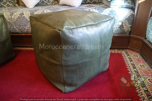 LUXURY LEATHER SQUARE OTTOMAN OLIVE SP1OL (Without Stitching)