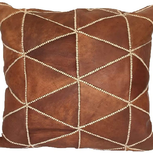 Leather Square Luxury Embroidered Pillow Light Brown EP2BR