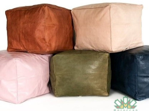 LUXURY LEATHER SQUARE OTTOMAN (ALL COLORS)