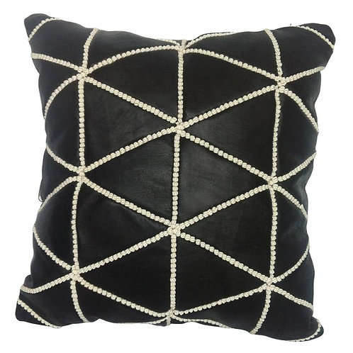 Leather Square Luxury Embroidered Pillow Black EP1BL