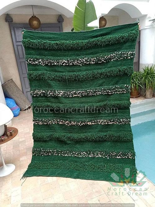 Handmade Moroccan Wedding Blanket Handira GREEN HB1GN