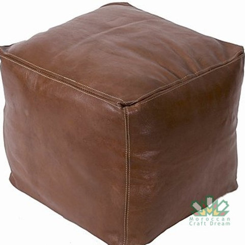 LUXURY LEATHER SQUARE OTTOMAN CHOCOLATE SP2CH (WITH STITCHING)