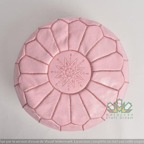 SMALL LUXURY LEATHER OTTOMAN LIGHT PINK RP2PI