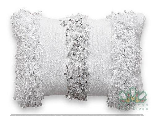 Moroccan Wedding Pillow Throw 60cm x 40cm, White Sequin Berber Cushion White 2