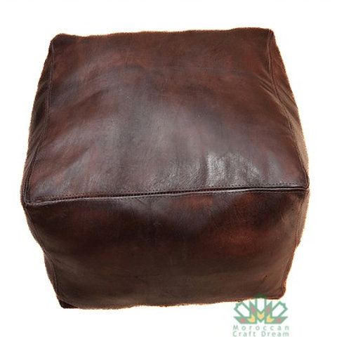 SET OF 2 SQUARE LUXURY LEATHER POUFS CHOCOLATE SP3BR