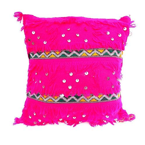 Moroccan Wedding Blanket Pillow Handira Pink