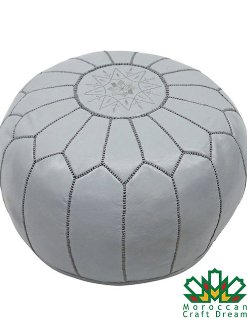 LUXURY LEATHER OTTOMAN GREY RP2GR