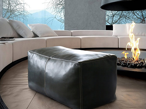 BLACK LARGE SQUARE/RECTANGULAR LUXURY LEATHER OTTOMAN LSP1BL