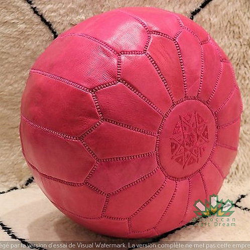 SMALL LUXURY LEATHER OTTOMAN PINK RP2PI