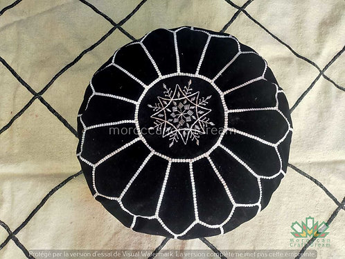 LUXURY VELVET OTTOMAN BLACK VP1BL